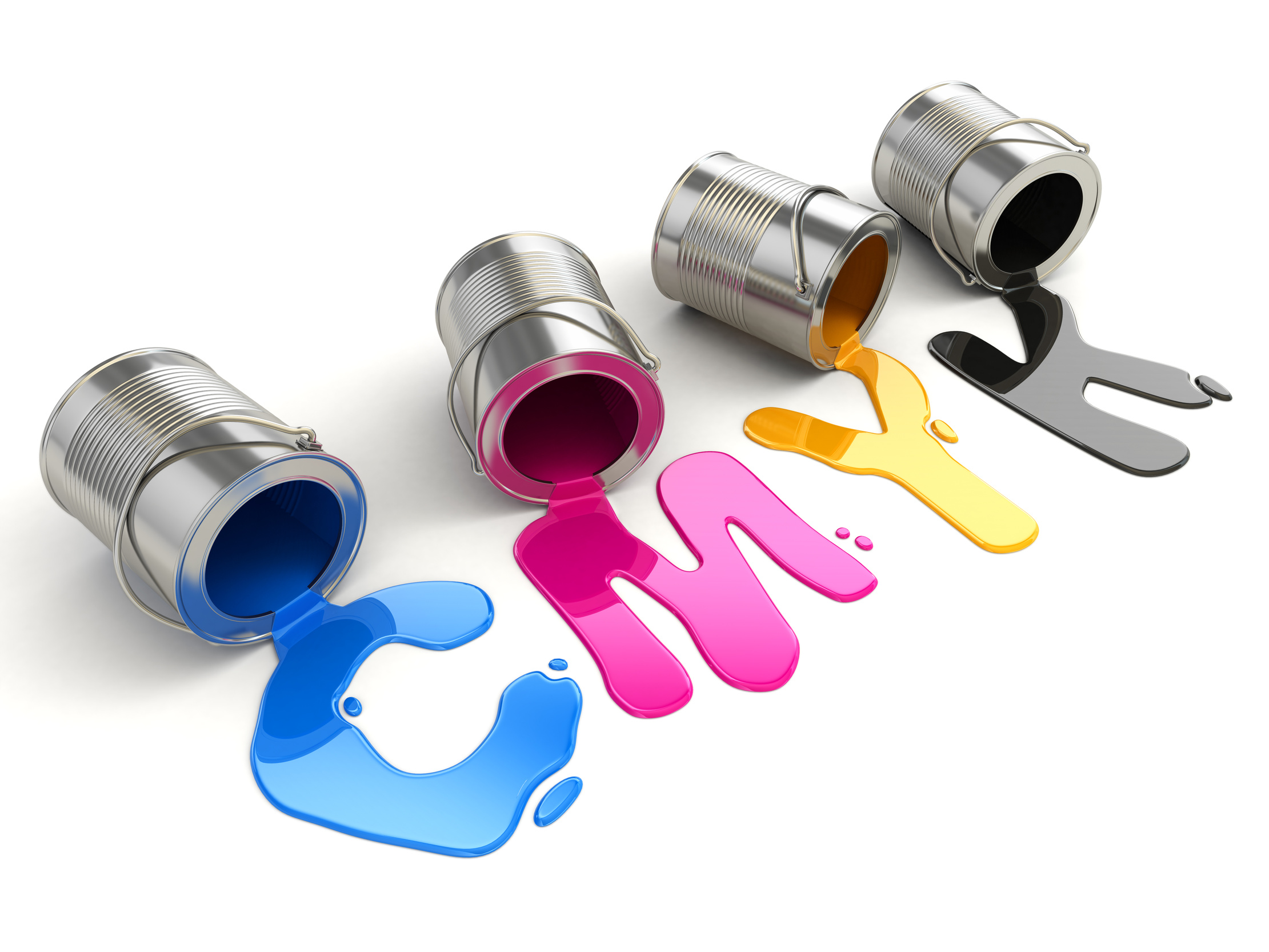 Spilled CMYK paint on white isolated background. 3d