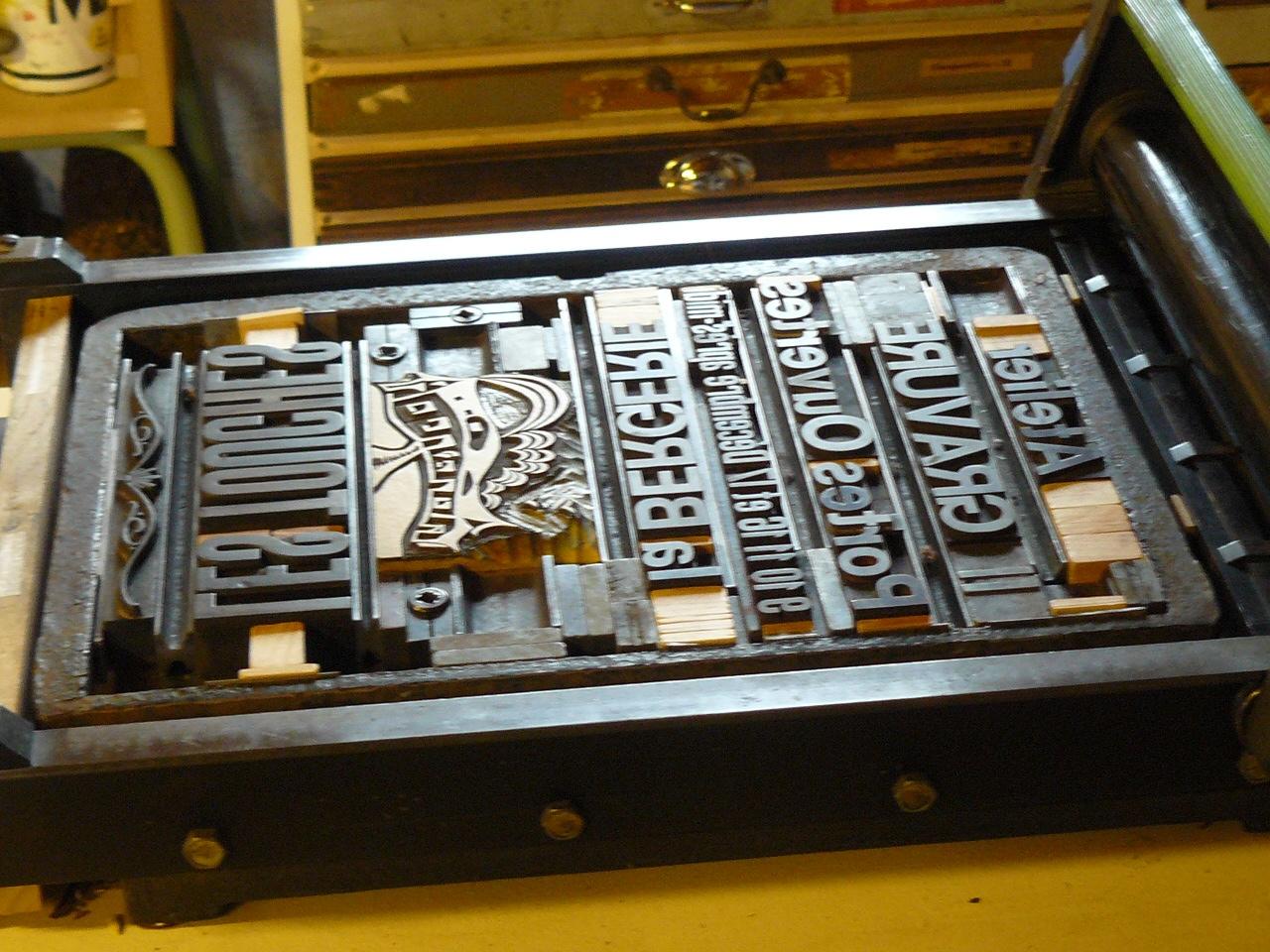 imprimerie et presse typographique
